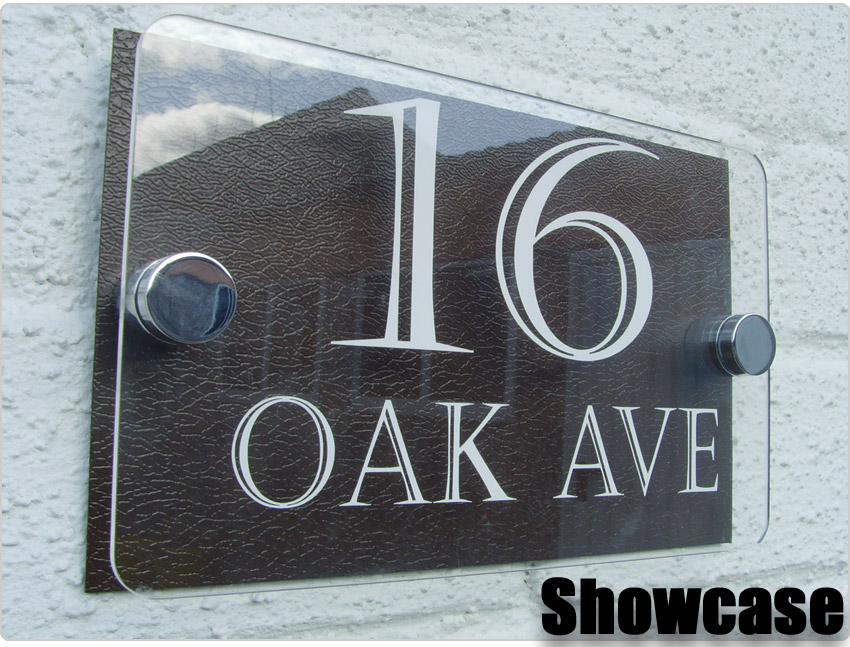 Modern house sign plaque door number glass effect for Contemporary house names